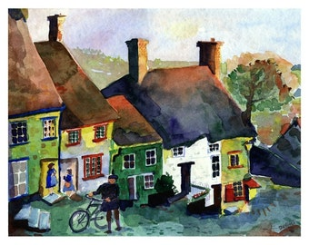 English Landscape Painting of Gold Hill, Shaftesbury Dorset England - England Watercolor Print, England Art Print, Historic Art home decor,