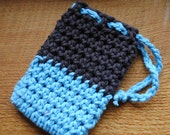 Brown and Blue Crocheted Soap Saver