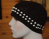 Coffee Brown Adult Skullcap with Cream Color beads