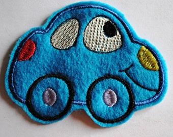 Blue Felt Herbie The Love Bug Applique