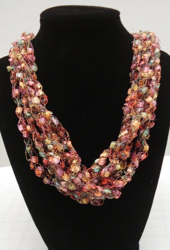 Crocheted Ladder Trellis Yarn Necklace Free Shipping In Us