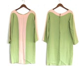 VINTAGE: 1960s crepe green and peach dress colour block small medium