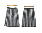 VINTAGE: knitted wool patterned pencil skirt in black, grey and cream small/medium