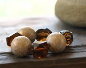 12mm  Cream Gold opaqueMottled Vintage Lucite Bead and Amber Glass  Destash 7 pieces