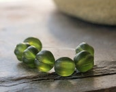 8mm Frosted  Moss Green Mellon Bead Destash 7 pieces
