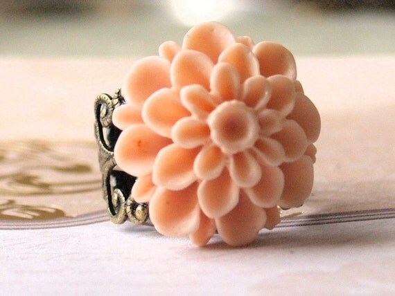 Shabby  Bouquet - Lucite Chrysanthemum Adjustable filigree band ring in Toasted Almond  Cleanace Priced
