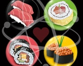 Sushi Sampler Gift Pack FOUR 1-inch Sushi Magnets