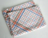 Pillowcase Retro Mod Vintage Blue Orange Brown Plaid
