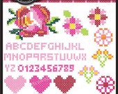 Cross Stitch Sampler Clipart Elements Collage Sheet for cards, stationary, invitations, scrapbooking and all paper crafts