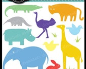 Animal Zoo Shapes Clip Art Elements Collage Sheet for cards, stationary, invitations, scrapbooking and all paper crafts