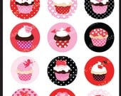 Valentine Cupcakes 2 inch Round Printable Circles for stickers, cupcake toppers, cards, stationary, invitations