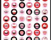 Valentine Cupcakes 1 x 1 inch Circle Digital Collage Sheet for Valentine's Day, bottle caps,  jewelry
