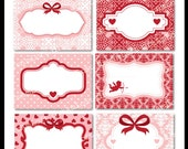 Victorian Valentine Collection Printable Cards, Frames, Labels & Tags great for gift tags, place cards, recipe cards, labeling, scrapbooking