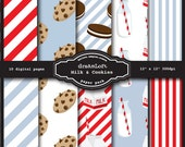Milk & Cookies Digital Paper Pack perfect for stationary, buttons, coasters, prints, packaging design, labels, gift paper