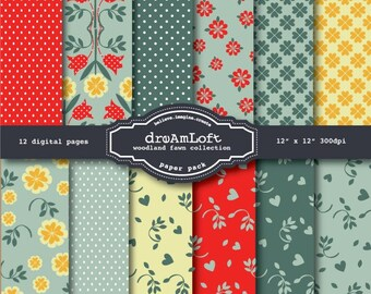 Woodland Fawn Collection Digital Paper Pack for cards, stationary, invitations, scrapbooking and all paper crafts