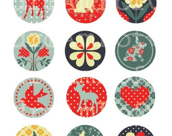 Woodland Fawn Collection 2 inch Circles for cupcake toppers, cards, stationary, invitations, scrapbooking and all paper crafts