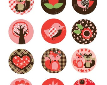 Fabulous Fox Collection 2 inch Circles for cupcake toppers, cards, stationary, invitations, scrapbooking and all paper crafts