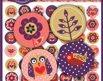 A Tweet Affair Collection 1 x 1 inch Circle Digital Collage Sheet