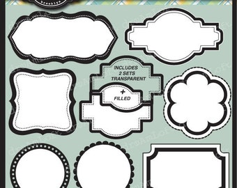 Basic Labels and Frames Clipart for tags, cards, stationary, invitations, scrapbooking and all paper crafts