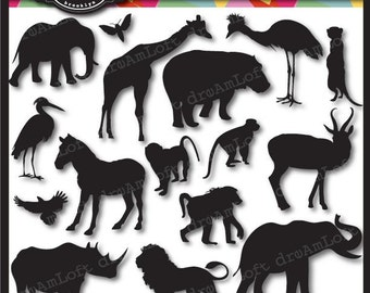 Animal Cameos Silhouettes II: African Safari Clip Art Elements Collage Sheet for cards, stationary, invitations, scrapbooking