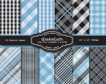 Baby Boy Blue Gingham and Plaid Digital Paper Pack in Baby Blue and Grey for baby shower, cards, stationary, invitations, scrapbooking
