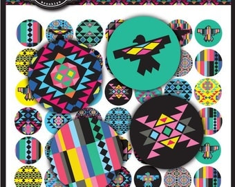 Native Remix Collection 1 x 1 Inch Round Circles for stickers, buttons, tags, pendants, cupcake toppers, pins and more