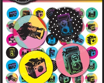 Retro Camera Digital Collage Sheet 1 x 1 inch Circles for bottle caps,  jewelry, magnets, stationary, invitations, bows