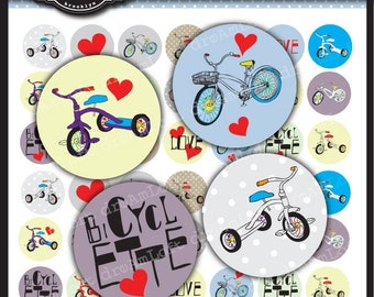 Bicycle Love Digital Collage Sheet 1 x 1 inch Circles