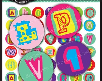 Fun Alphabet Cutouts Digital Collage Sheet 1 x 1 inch Circles for bottle caps,  jewelry, magnets, stationary, invitations, bows