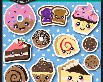 Kawaii Sweets Sweetest Clipart Set for scrapbooking and paper crafts