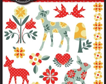 Woodland Fawn Collection Clipart Elements Collage Sheet for cards, stationary, invitations, scrapbooking and all paper crafts
