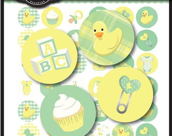 Ducky Baby Shower Collection 1 inch Round Circles for stickers, cupcake toppers, cards, stationary, invitations