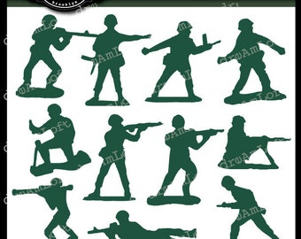 LIttle Green Army Men Clip Art for Personal and Commericial Use