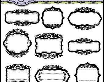 Luxury Frames and Labels Clipart Elegant style frame, tags, cards, stationary, invitations, scrapbooking and all paper crafts