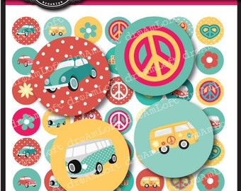Love Bus 1 inch Round Printable Circles for stickers, labels, cards, glass pendants, digital art for jewelry