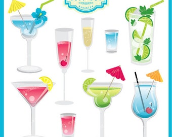 Tropical Drink Clipart Set for summer party themes, invitations, stationary and more