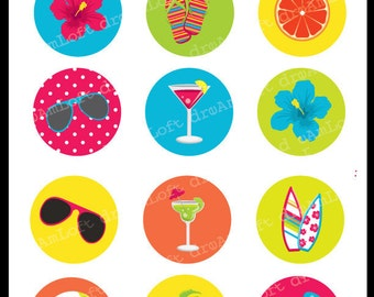 Tropical Party 2 Inch Round Circles for stickers, coasters, tags, pendants, cupcake toppers, pins and more