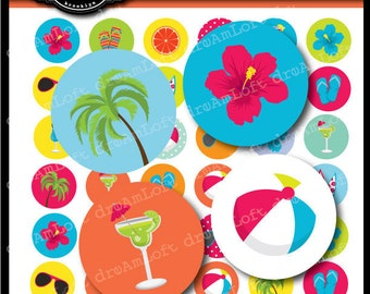Tropical Party 1 Inch Round Circles for stickers, coasters, tags, pendants, cupcake toppers, pins and more