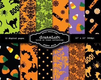 Halloween Digital Papers Trick Or Treat Collection for cards, stationary, invitations, party favors, and all paper crafts