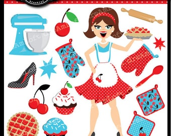 Cherry Pie Clip Art Collection for cards, stationary, invitations...50's style retro clip art