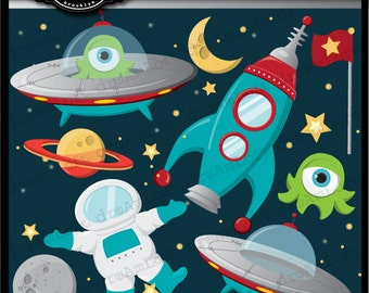 Outer Space Clip Art Digital Collage Sheet Clipart for cards, stationary, invitations, scrapbooking and all paper crafts