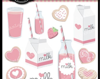 Strawberry Milk and Cookies Clip Art Digital Collage Sheet Clipart for valentines, stationary, invitations, scrapbooking
