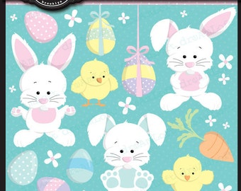 Easter Clip Art Easter Bunny Collection ClipArt Elements for cards, stationary, etsy banners, invitations, scrapbooking and all paper crafts