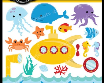 Ocean Animals Clip Art Digital Collage Sheet Clipart for cards, stationary, invitations, scrapbooking and all paper crafts