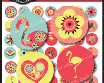 Fantastic Flamingos 1 x 1 Inch Round Circles for stickers, buttons, tags, pendants, cupcake toppers, pins and more