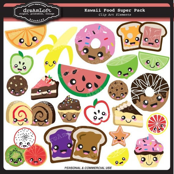Kawaii Food SUPER PACK for scrapbooking, labels, tags, stickers, paper crafts, banners, avatars, blogs and more