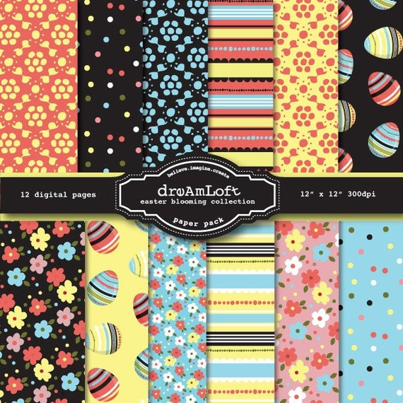 Easter Blooming Collection Digital Paper Pack for cards, stationary, packaging, invitations, scrapbooking and all paper crafts