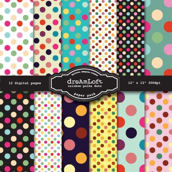 Rainbow Polka Dots Digital Paper Pack great for Spring, birthday invitations,  baby showers, cards, stationary, invitations, scrapbooking
