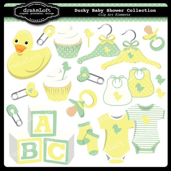Ducky Baby Shower Collection Clipart Elements for baby showers, cards, stationary, invitations, party favors, and all paper crafts