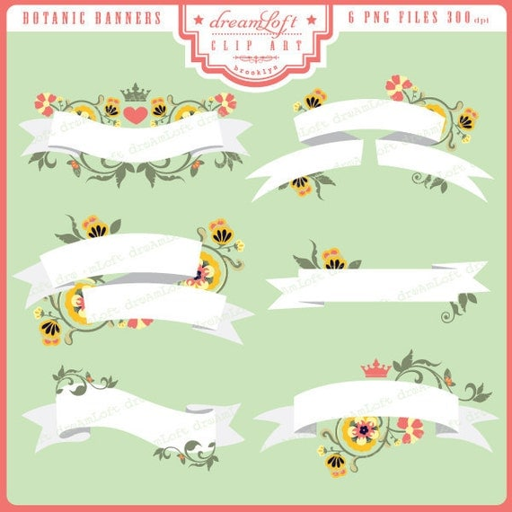 Botanic Banners Clip Art for cards, stationary, invitations, party favors, and all paper crafts